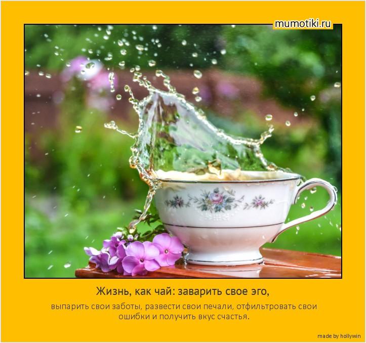 Жизнь, как чай: заварить свое эго, выпарить свои заботы, развести свои печали, отфильтровать свои ошибки и получить вкус счастья. #мотиватор