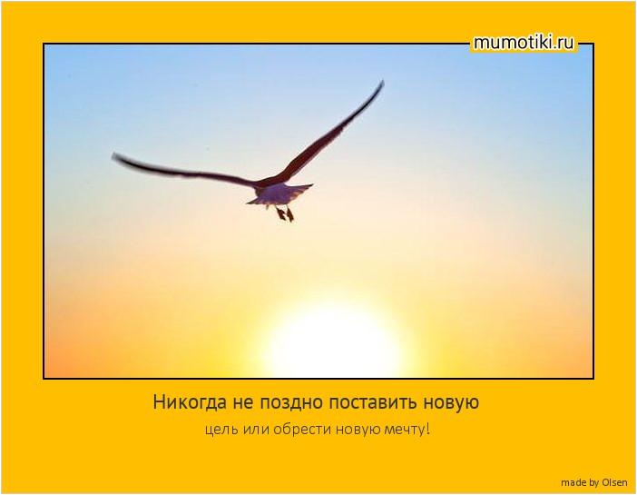 Никогда не поздно поставить новую цель или обрести новую мечту! #мотиватор