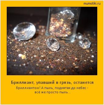 Бриллиант, упавший в грязь, останется бриллиантом! А пыль, поднятая до небес - всё же просто пыль... #мотиватор