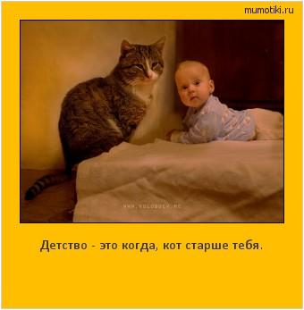Детство - это когда, кот старше тебя. #мотиватор