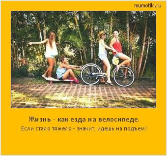 Жизнь - как езда на велосипеде. Если стало тяжело - значит, идешь на подъем! #мотиватор