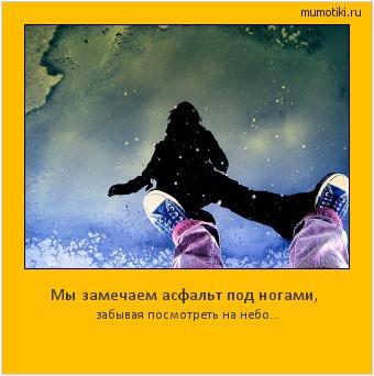 Мы замечаем асфальт под ногами, забывая посмотреть на небо… #мотиватор