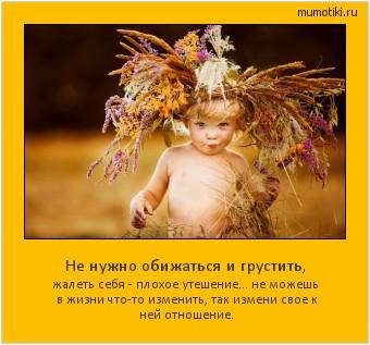 Не нужно обижаться и грустить, жалеть себя - плохое утешение... не можешь в жизни что-то изменить, так измени свое к ней отношение. #мотиватор