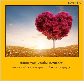 Живи так, чтобы Вечность могла любоваться красотой твоего сердца... #мотиватор