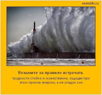 Возьмите за правило встречать трудности стойко и мужественно, ощущая при этом прилив энергии, а не упадок сил. #мотиватор