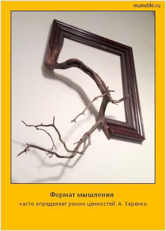 Формат мышления часто определяет рамки ценностей. А. Харенко. #мотиватор
