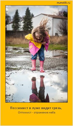 Пессимист в луже видит грязь,  Оптимист - отражение неба #мотиватор