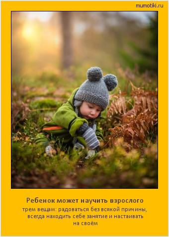 Ребенок может научить взрослого трем вещам: радоваться без всякой причины, всегда находить себе занятие и настаивать на своём #мотиватор