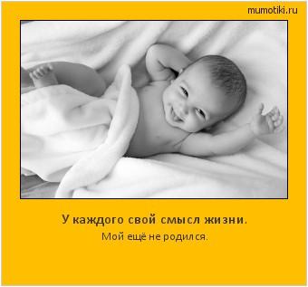 У каждого свой смысл жизни. Мой ещё не родился. #мотиватор