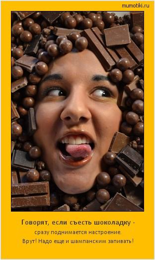 Говорят, если съесть шоколадку - сразу поднимается настроение. Врут! Надо еще и шампанским запивать! #мотиватор
