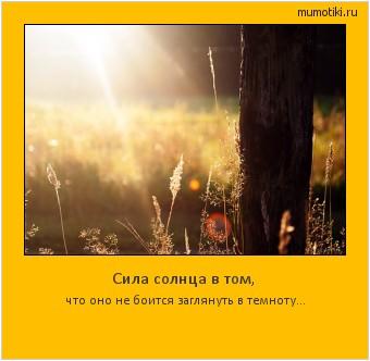 Сила солнца в том, что оно не боится заглянуть в темноту... #мотиватор