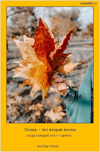 Осень – это вторая весна, когда каждый лист – цветок... Альбер Камю #мотиватор